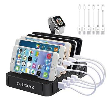 Estación de Carga, JEEMAK USB de 6 Puertos Cargador Rápido con Almacenamiento de Cables, Cargador USB Multi-Puerto Soporte de Carga de Escritorio para ...