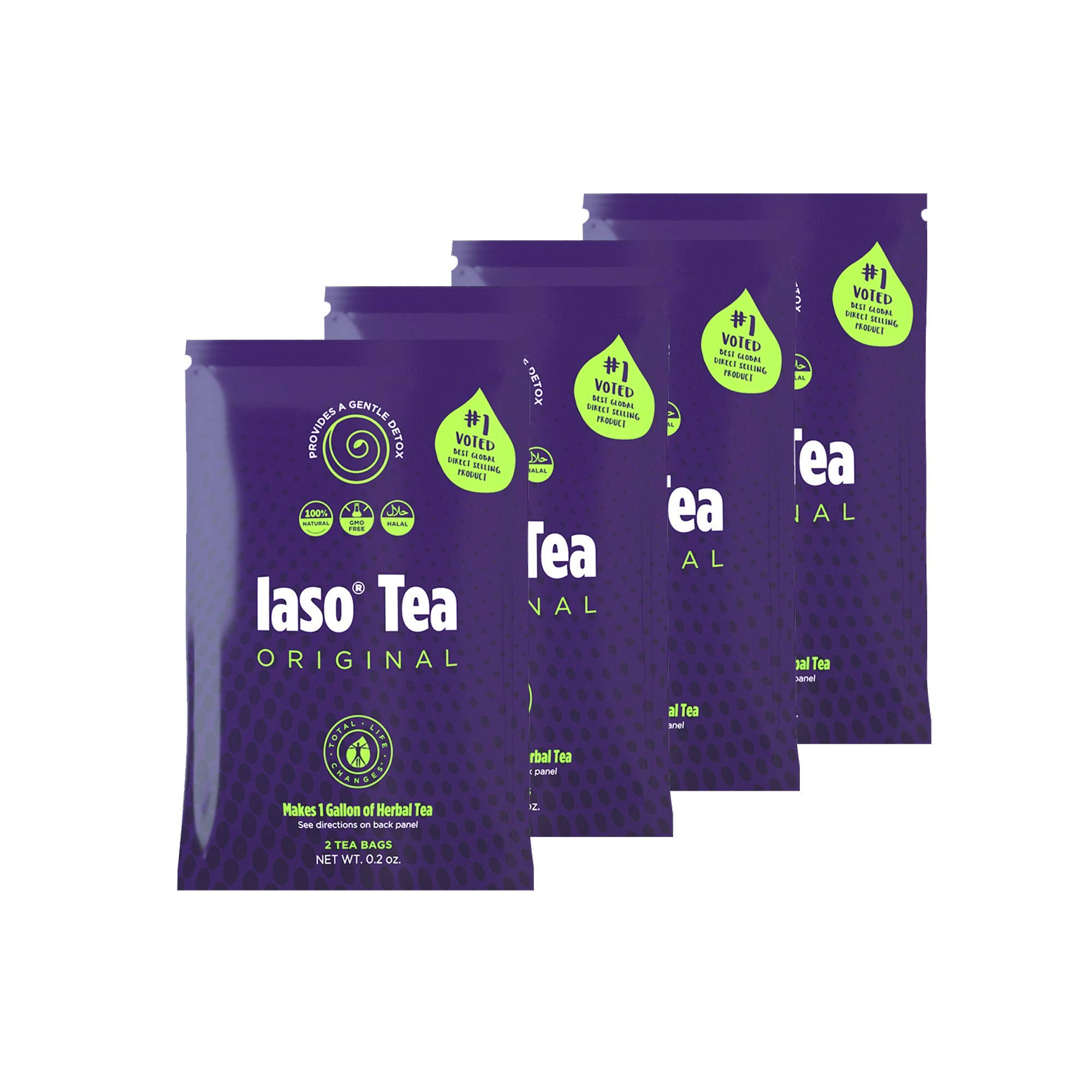 TLC Total Life Changes IASO Natural Herbal Detox Tea Bags - Four Pack (8 Tea Bags) by Total Life Changes