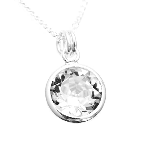 pewterhooter 925 Sterling Silver pendant and chain handmade with sparkling Diamond White crystal from SWAROVSKI in a silver setting.