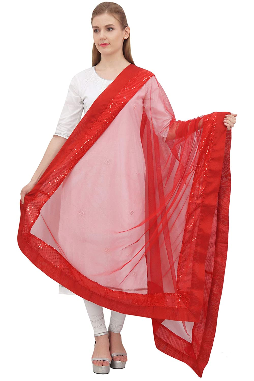 Phagun Indian Chunni Women Long Neck Wrap Long Stole Net Dupatta Scarves-White PNDP15B