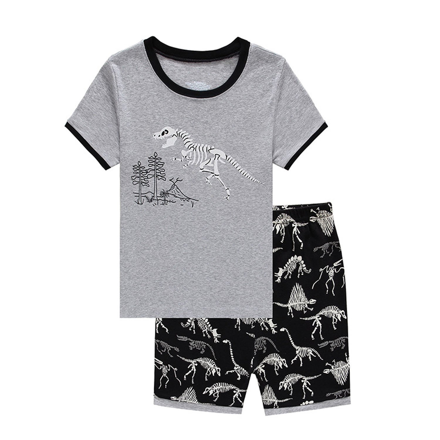 Dinosaur Summer Little Boys' Pajamas 100% Cotton Short Clothes Toddler Kids Pjs Sleepwear