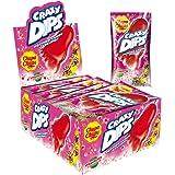 Chupa Chups Crazy Dips | Erdbeer-Lollis mit Brausepulver und Knistereffekt | 24er Thekendisplay
