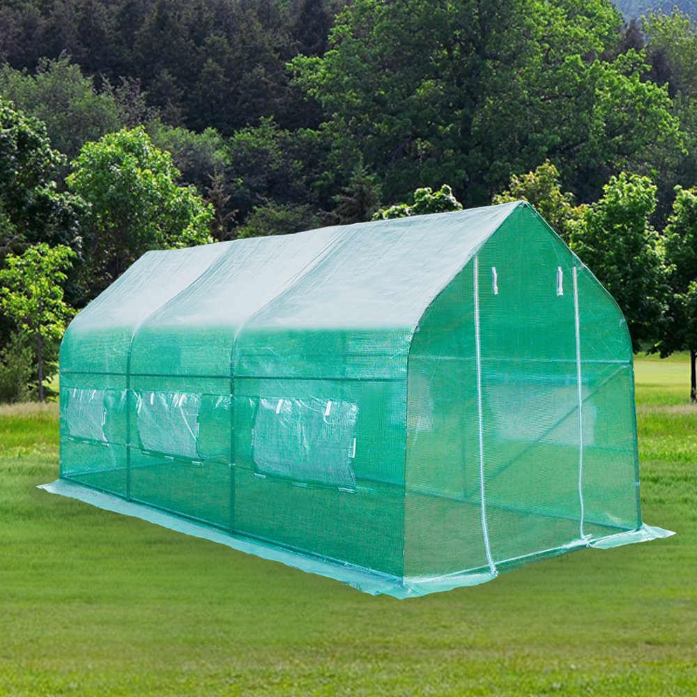 Z ZTDM 15'×7'×7' Outdoor Large Green House Walk in Greenhouses Backyard Protective Shed Nursery Grow Tents Plants Gardening(15'x7'x7' Shaped)