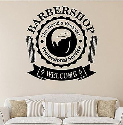 Pegatina De Pared Para Barberia Vidrio Vinilo Arte Calcomanía Mural Barber Shop Wall Sticker Ventana Decoración