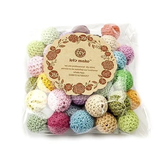 Amazon.com: 50pc Crochet de madera cubierto Beads color mix ...