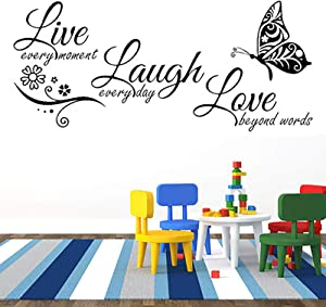 N/G Wall Sticker Motivational Wall Decals Inspirational Wall Decals for Home Quotes Wall Decor Sticker for Living Room Live Laugh Love Proverbs Sticker