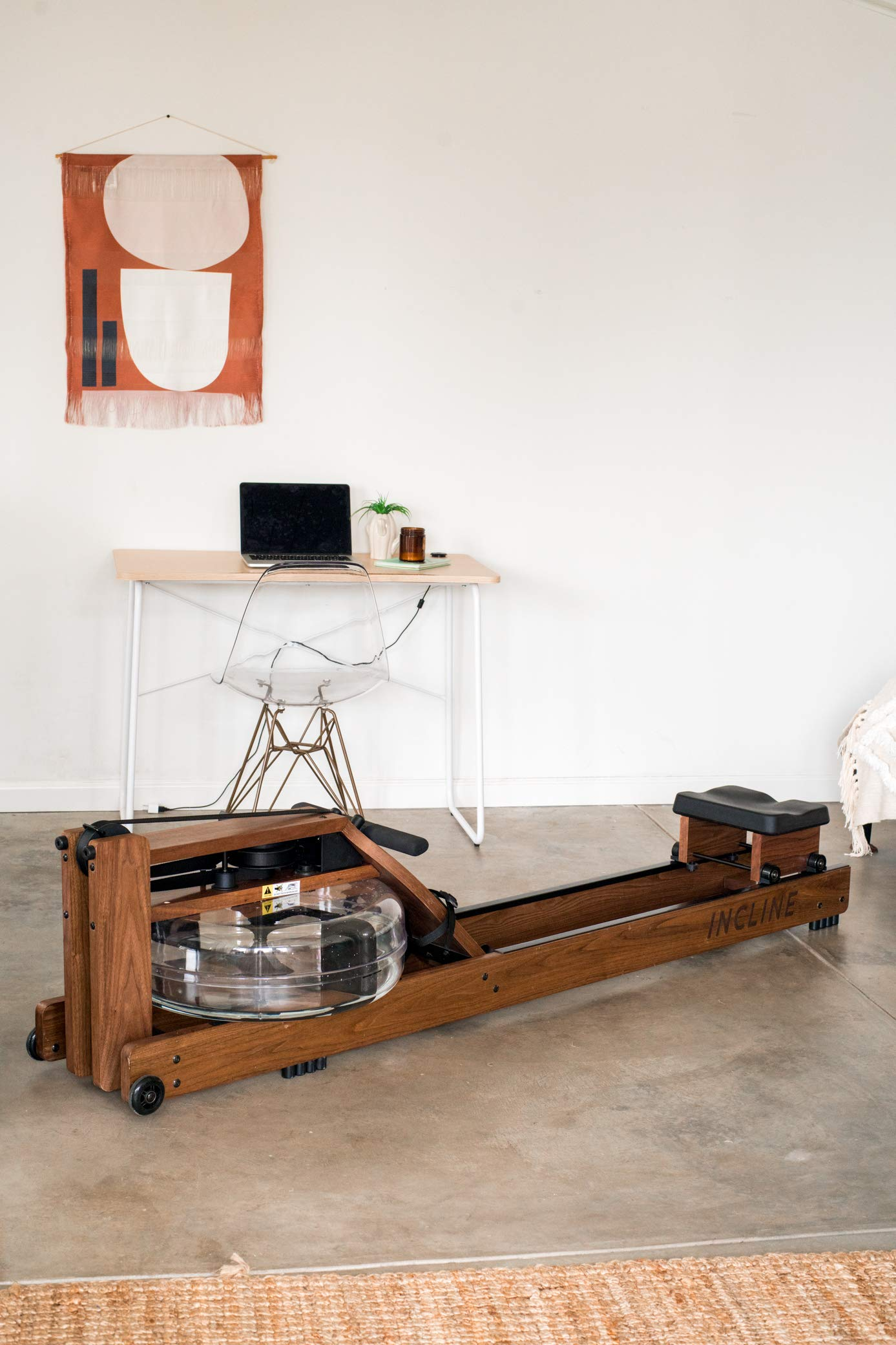 Incline Fit Wood Water Rowing Machine with Monitor, Walnut by Incline Fit (Image #7)