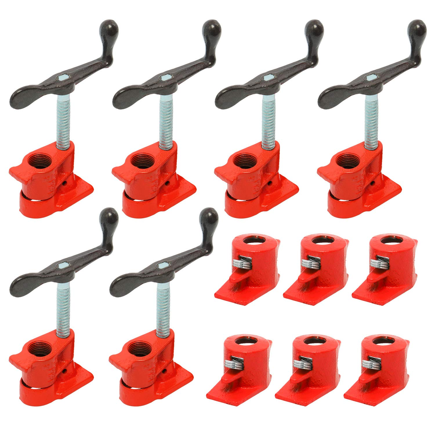 (6 Pack) 1/2'' Wood Gluing Pipe Clamp Set Heavy Duty PRO Woodworking Cast Iron by YaeKoo