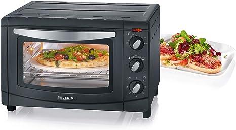 SEVERIN TO 2061 Horno Tostador con Convección incluye Piedra para pizza, 1.500 W, 20 L, color plateado y negro ...