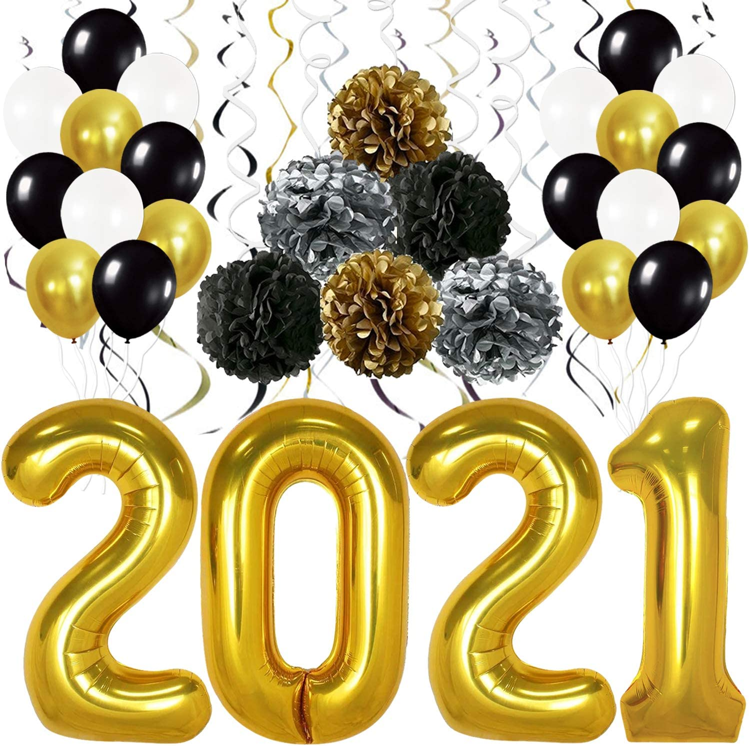 40 Inch Jelly New Years Balloons for NYE Decorations NYE 2021 Decorations Happy New Year D/écor and Graduation Party Supplies Large Colorful Rainbow 2021 Balloons for New Years Eve Decorations