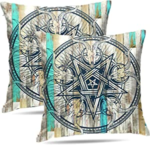 Granbey Rustic Country West Western Star Barn Texas Wooden Cabin West Primitive Decorative Pillow Covers Skull Skeleton Head Bone Design for Couch Decor 18 Inch Pillowcases Set of 2