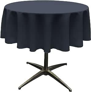 "LA Linen Polyester Poplin Round Tablecloth, 58"", Navy"