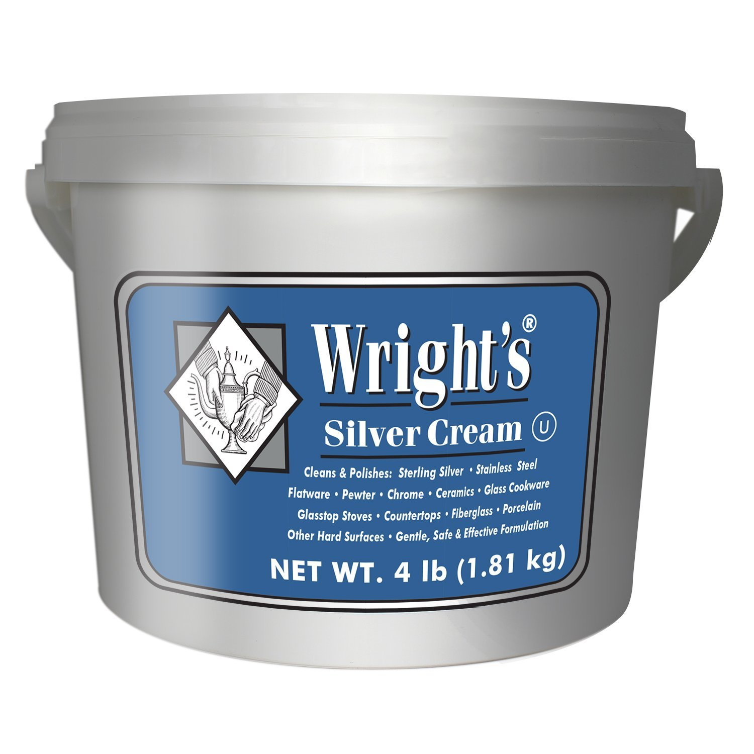 Wright's Silver Cleaner and Polish Cream - 4 Pounds - Ammonia Free - Gently Clean and Remove Tarnish Without Scratching by Wright's