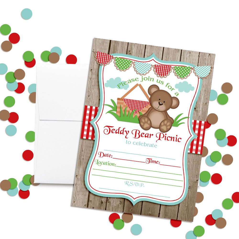 Teddy Bear Picnic Birthday Party Invitations 20 5x7 Fill In Cards With Twenty White Envelopes By AmandaCreation