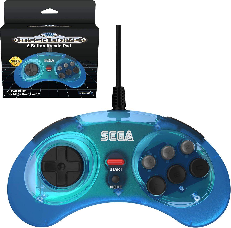 Retro-Bit Official SEGA Mega Drive 6-button Arcade Pad Blue [Importación inglesa]: Amazon.es: Videojuegos