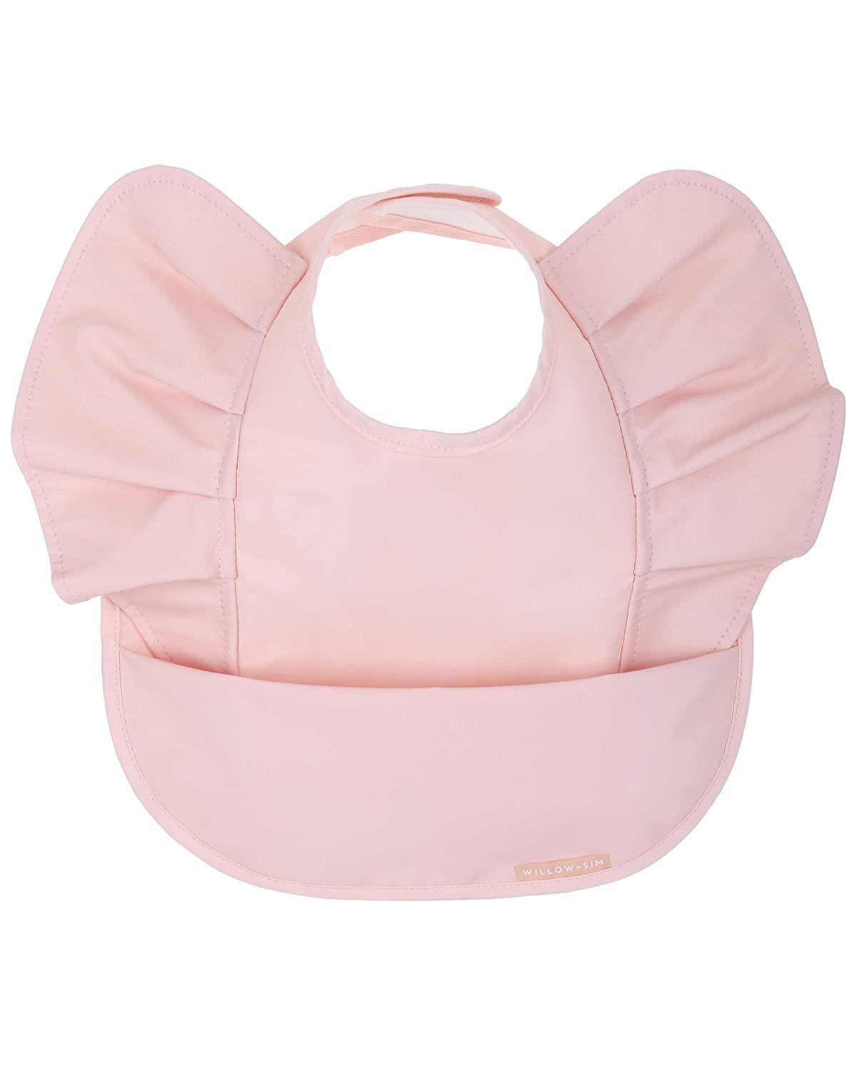 Waterproof Baby Bib for Baby Girl - Better Than Silicone, Wipe Clean and Washable - Toddler Bibs with Food Catcher, Ideal Feeding bib for Babies and Infants - No Sleeve - Scallop Shell
