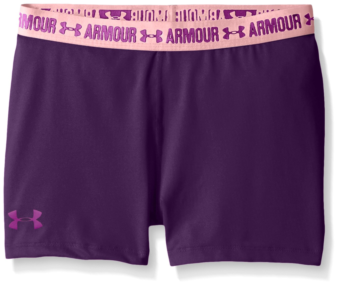 Under Armour Girls Heatgear Armour 3'' Shorts,Indulge /Purple Rave, Youth Small