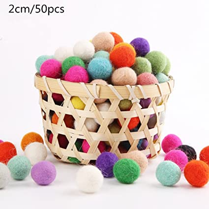 Amazon Com Wool Felt Balls 50pcs 2cm Mix Color Diy Wool