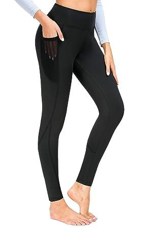 74b0a98936d Munvot Pantalon Running Femme avec Poche Collant Sport Jogging Fitness  Legging Noir Taille Haute