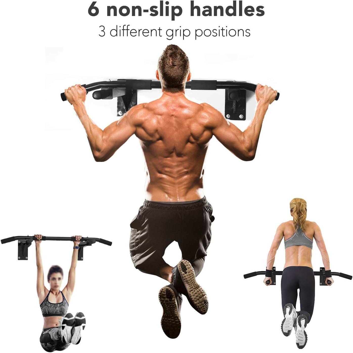 ISE Barra de dominadas multifunción para pared y techo, barra de gimnasio con asas antideslizantes, innumerables ejercicios de dominadas, incluye ...