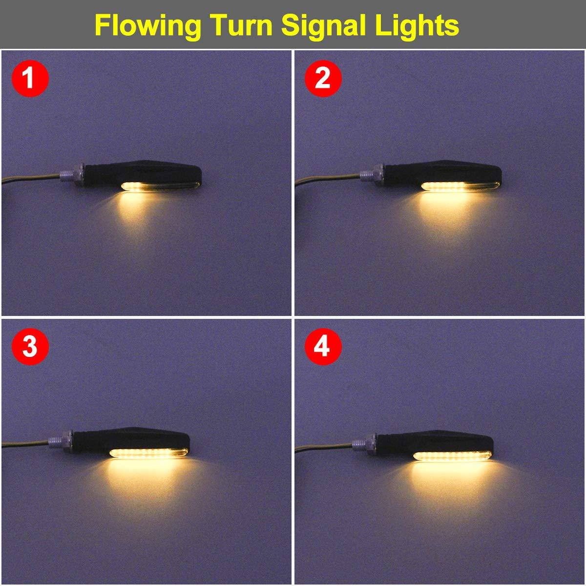Upgraded 4Pcs Motorcycle Flowing Turn Signal Lights Universal Motorbike LED Turning Indicators Lamp Amber Light KING SHOWDEN