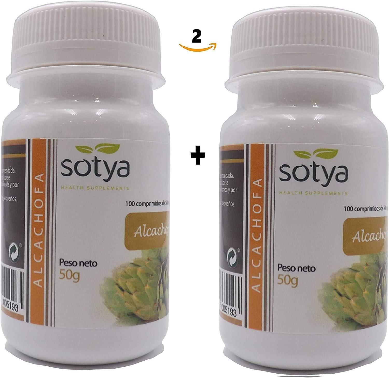 Alcachofa 500 mg 200 comprimidos (dos botes 100 + 100), Detox, depurativo Higado, diurético, quema grasa, ayuda al control del peso, bueno para la salud digestiva. Calidad SOTYA.