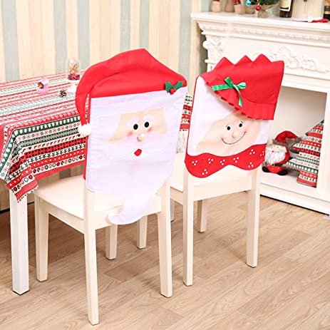 santa chair covers set of 2 mr and mrs santa clause chair back - Kitchen Chair Covers
