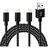 Lightning Cable,IMITOR Phone Charger Cable 3Pack 6FT Nylon Braided Cord CE Certified Compatible with iPhone X/8/8 Plus/7/7 Plus/6 Plus/6s/6/5s/5,iPad Mini/Air,iPod(Black White)