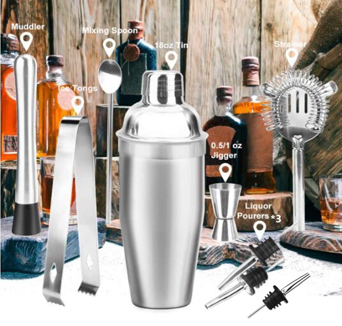 The Wolf Moon Cocktail-Set, 12-teilig, Schüttelbecher, Barmaß, gedrehter Barlöffel, Stößel, Mixer, Flaschenausgießer, Eissieb und Eiszange