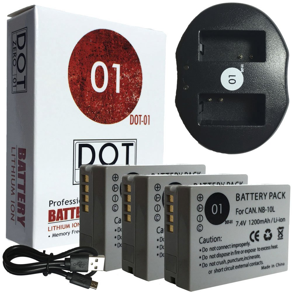 DOT-01 3x Brand 1200 mAh Replacement Canon NB-10L Batteries and Dual Slot USB Charger for Canon Powershot SX60, SX50 HS,SX40 HS, G1X, G15, G16 Digital SLR Camera and Canon NB10L