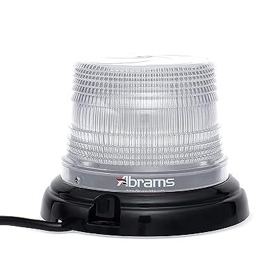 "Abrams StarEye 4"" Inch Dome LED Beacon [12 LED] [36W] Roof Top Permanent Mount [SAE Class-1] [30+ Flash Patterns] [IP67] School Bus Emergency Vehicle Car White Flashing Warning Strobe Beacon Light: Automotive"