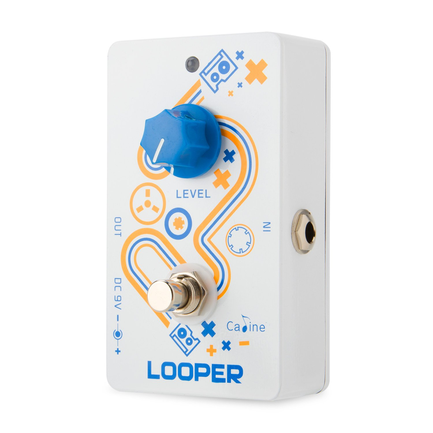 Caline Looper Guitar Pedal Effects Pedal True Bypass Unlimited Overdubs 10 Minutes of Loop Recording CP-33 Looper, White