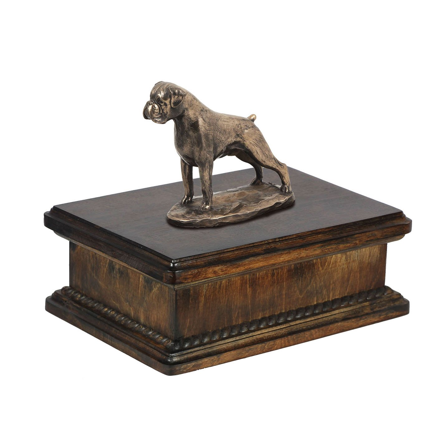 Boxer (uncropped), memorial, urn for dog's ashes, with dog statue, exclusive, ArtDog