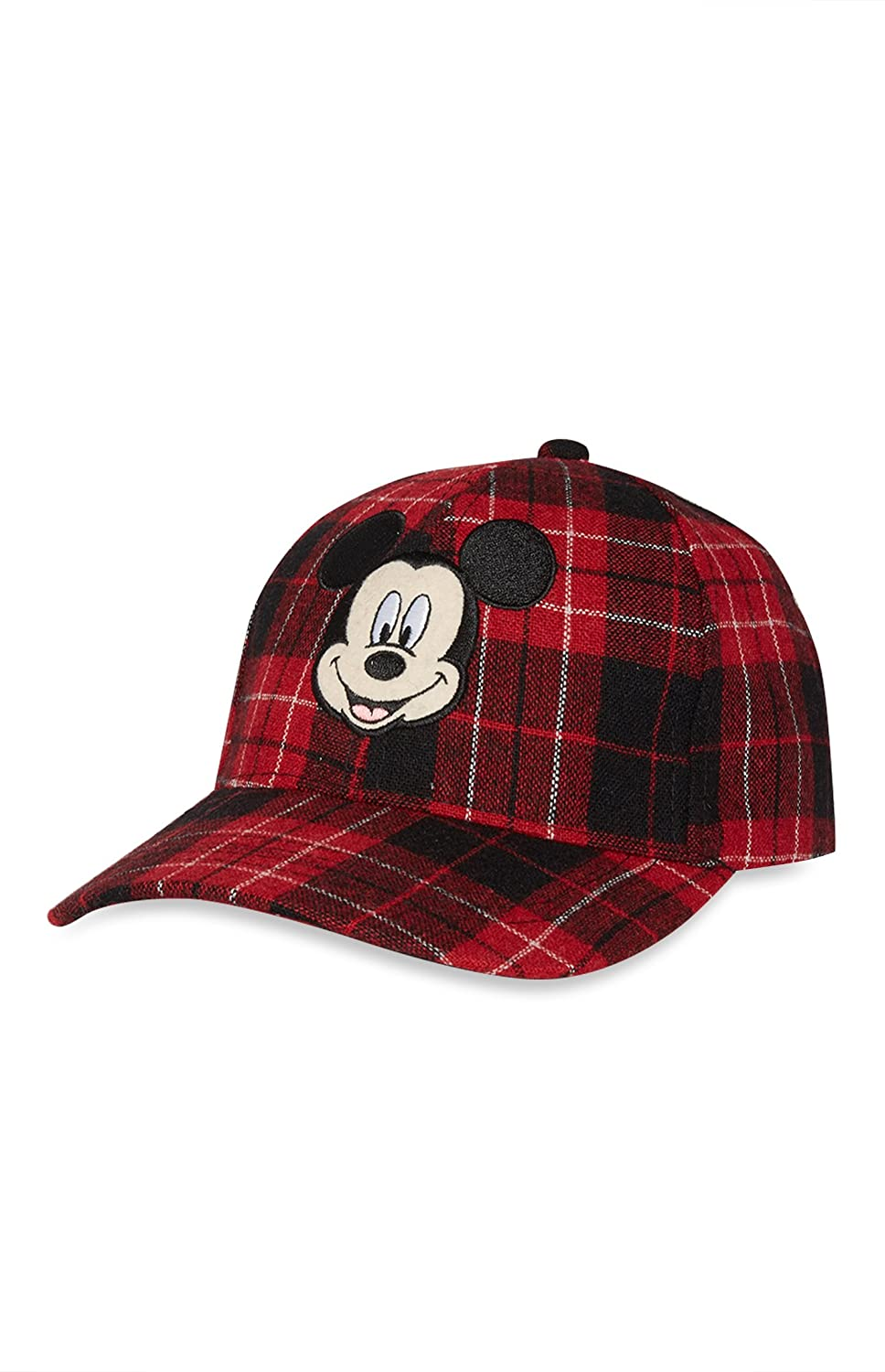 Disney Mickey Mouse Red Tartan Baseball Cap with Adjustable Strap