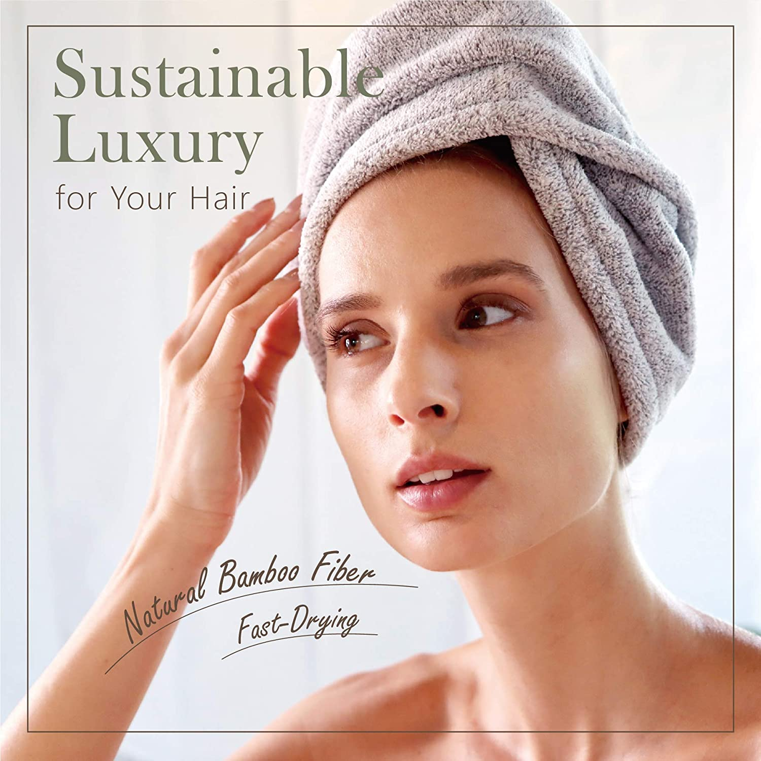 myHomeBody Hair Towel Wrap   Luxury Anti-Frizz Rapid-Dry Hair-Drying Turban   Ultra Soft and Quick Drying Absorbent Bamboo Fiber, with Coconut Shell Button : Beauty