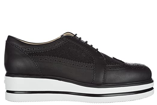 Hogan Women's Classic Leather Lace up Laced Formal Shoes h323 Route Derby  Black US Size 6.5