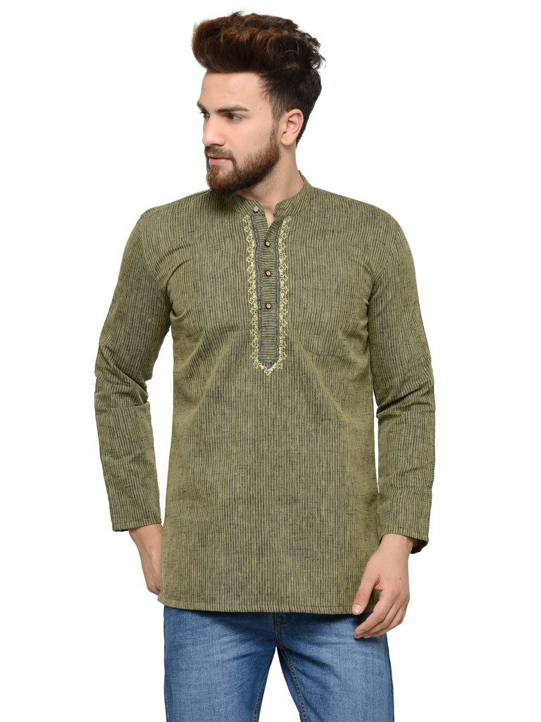 Apparel Men's Cotton Designer Short Kurta Medium Black and Yellow