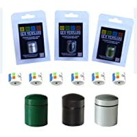 Geo-versand –  3 Magnetic Waterproof Containers for nano Caches with 6 hidden Geocaching log strips - Colour: Silver, Green, Black