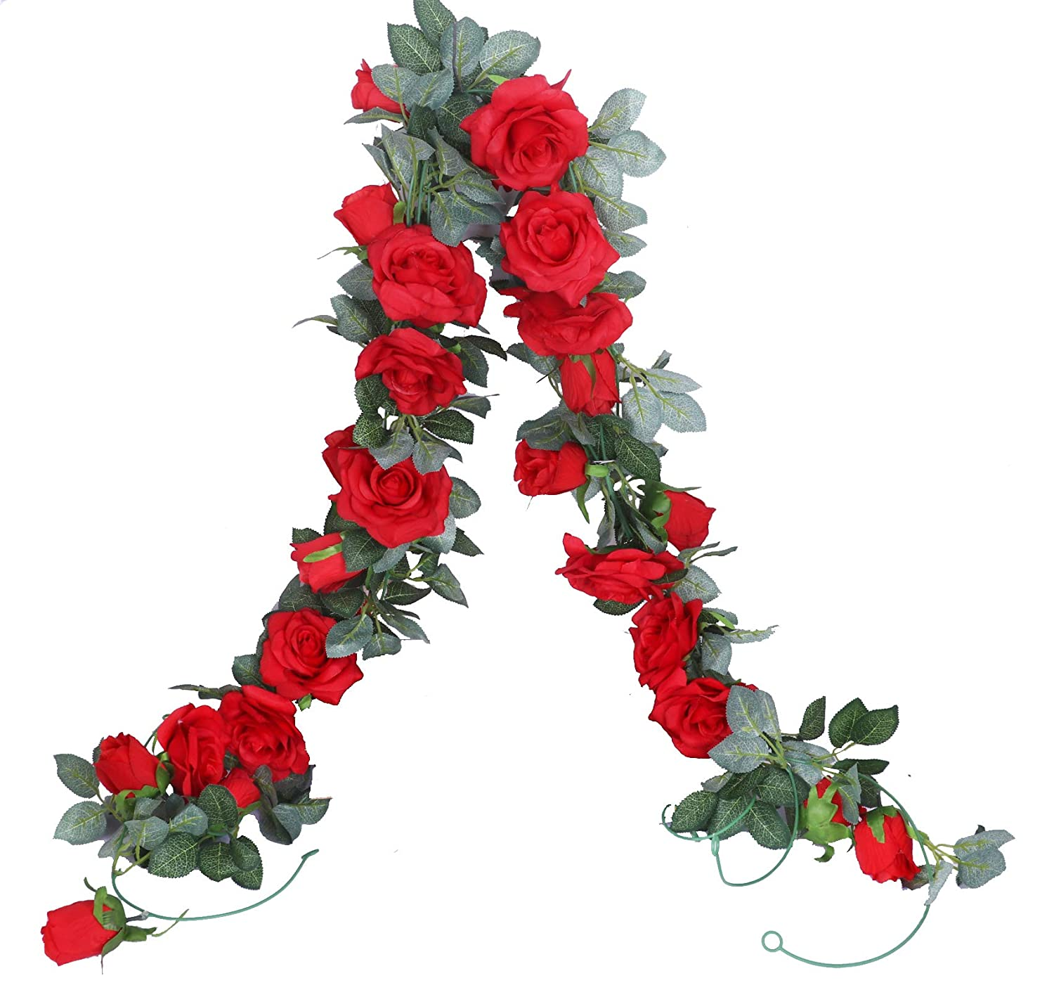 Anlise 6.5Ft Artificial Rose Vines Fake Silk Garlands Flowers Hanging Rose Ivy Plants for Hotel Wedding Home Party Garden Craft Art Decor, Pack of 2, RED