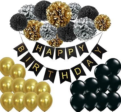 Amazon.com: Decoración de la fiesta de cumpleaños Set dorado ...