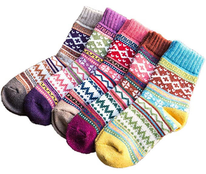 Amberzina Womens Vintage Winter Autumn Spring Warm Wool Ankle Athletic Socks for Women Wool Cashmere Crew Novelty Socks Retro Inspired Knit Thick Christmas Cotton Soft Cozy Fuzzy Socks-A