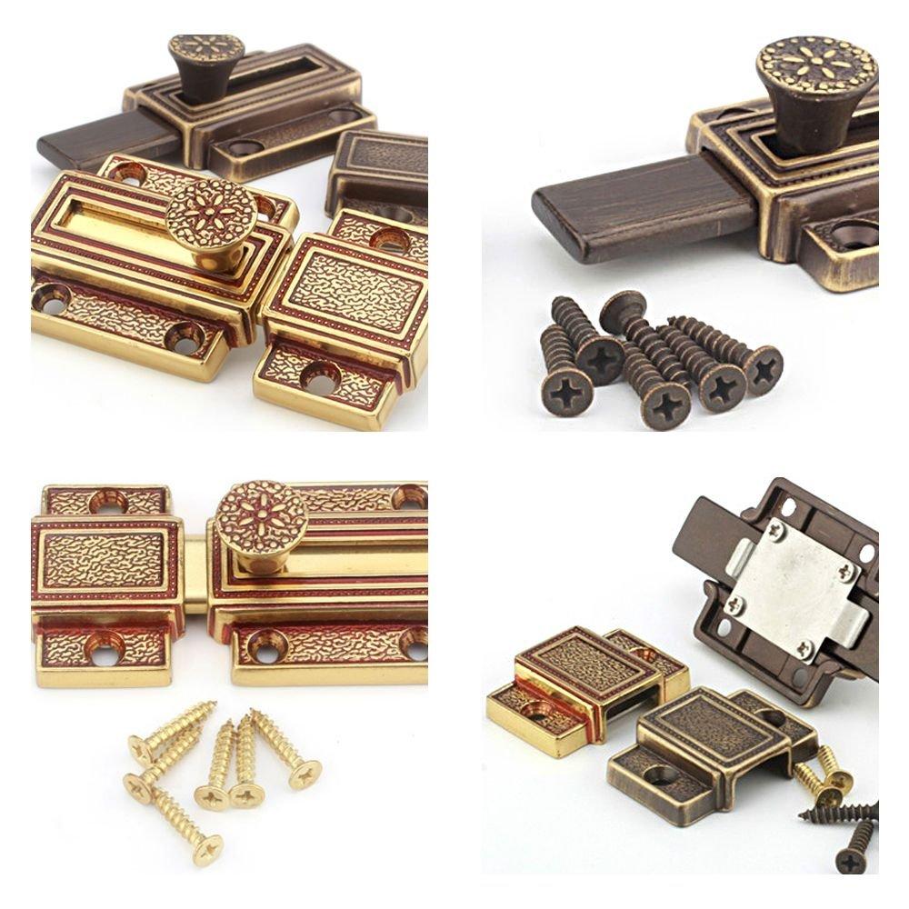 Zhi Jin 1Pc Luxury Pure Brass Barrel Slide Door Bolt Heavy Duty Gate Security Lock Latch Gold by Zhi Jin (Image #3)