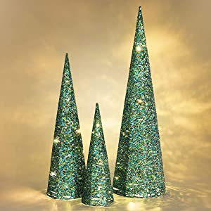 Luxspire Christmas Cone Tree Light, 3 Pieces LED Lighted Cone Tree Outdoor Christmas Decoration, Sparkle Beautiful Bright Tree Use Battery Powered Home Décor Christmas for Party Decoration, Green