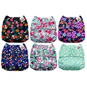 Mama Koala One Size Baby Washable Reusable Pocket Cloth Diapers, 6 Pack with 6 One Size Microfiber Inserts (Dream Garden)
