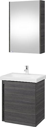 Planetmöbel Waschtischunterschrank mit Spiegelschrank 50cm Badmöbel Set für Badezimmer WC (Anthrazit) 1