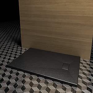 Plato de ducha negro, 80 x 140 cm, efecto piedra pizarra de resina y fibra de vidrio, 2,6 cm., negro: Amazon.es: Bricolaje y herramientas