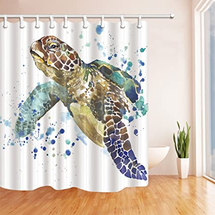 NYMB Sea Animal Lover Watercolor Brick Turtle Shower Curtain 69X70 Inches Mildew Resistant Polyester Fabric Bathroom
