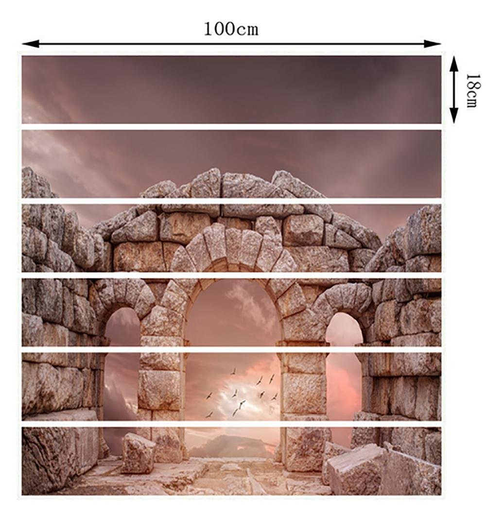 MIYI Treppen-Aufkleber 3D DIY Refurbished Refurbished Refurbished Retro Steinsäulen Fliesenaufkleber Entfernbar Wasserdicht Aufkleber Haus Dekoration 52de95