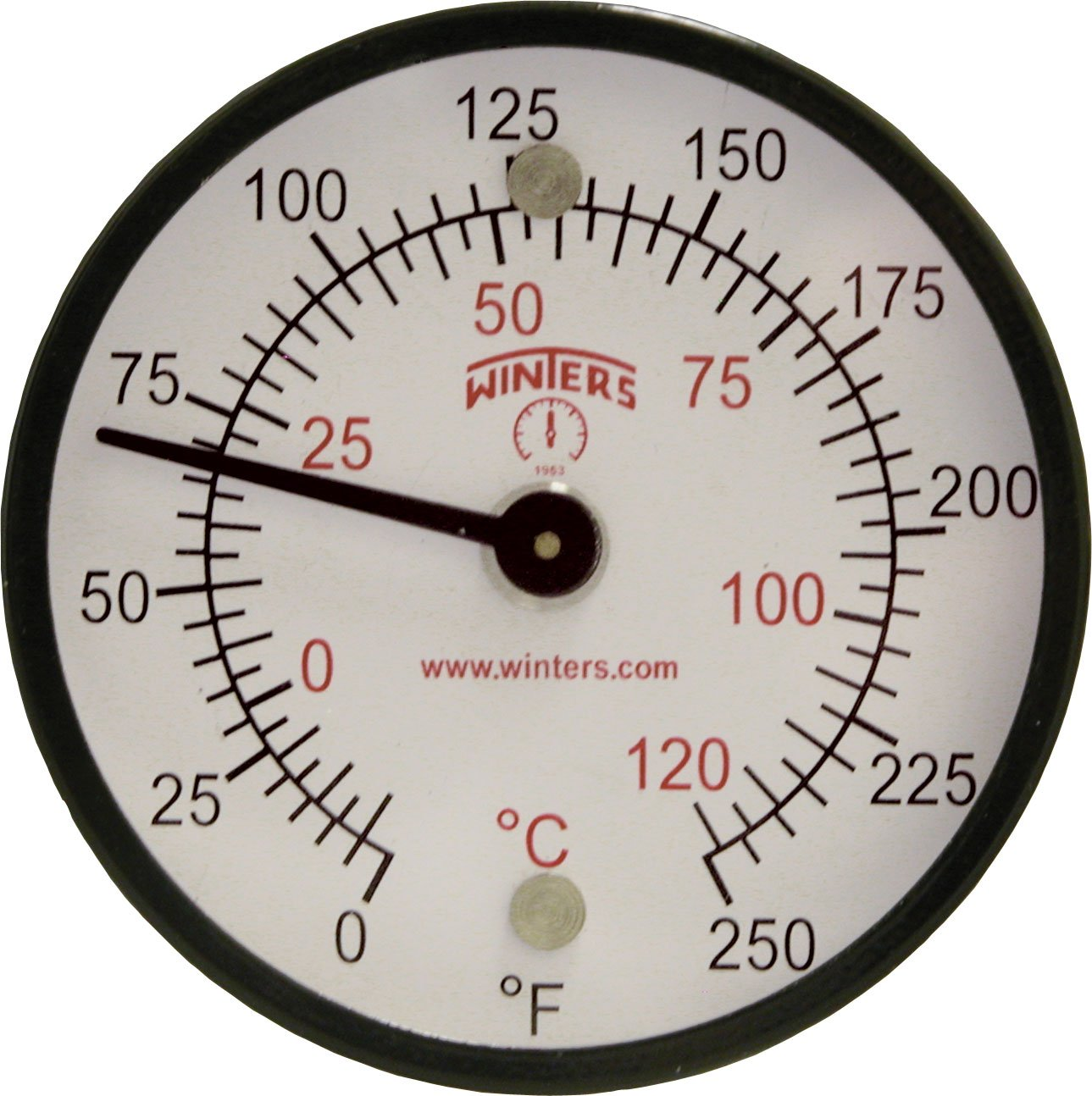 Winters TMT Series Steel Dual scale Surface Magnet Thermometer, 2'' Dial Display, +/-2% Accuracy, 0-250 F/C Range