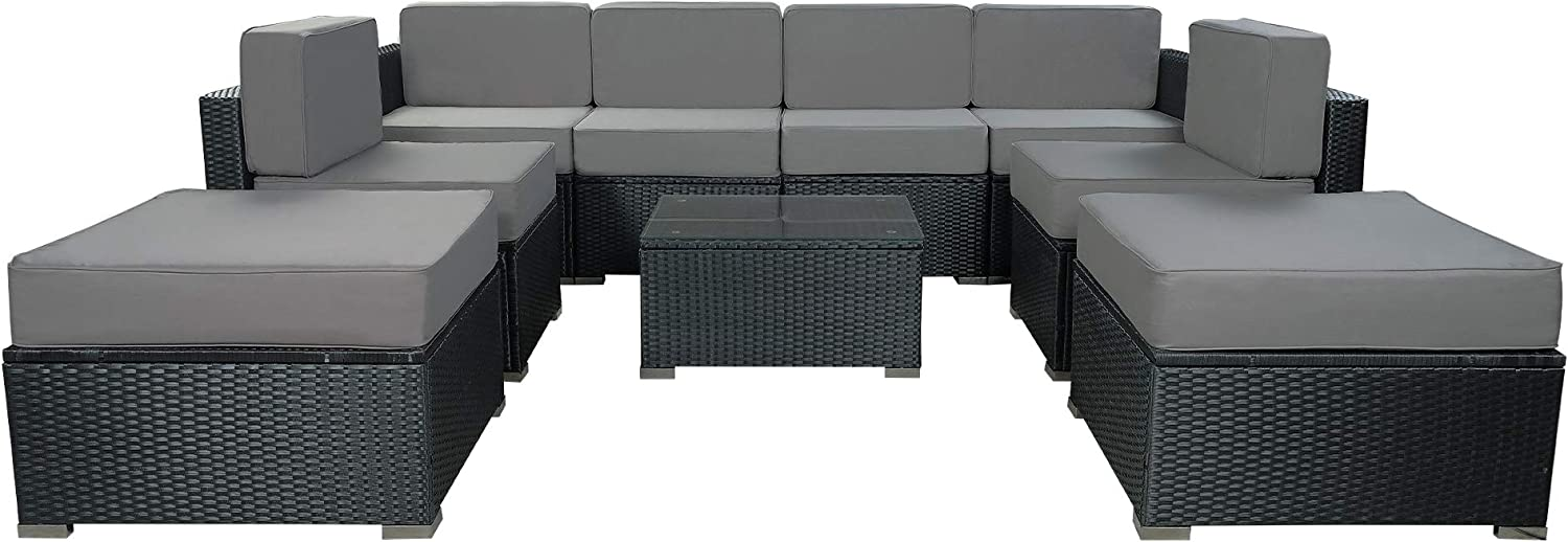 MCombo 9 Pieces Patio Furniture Sets with Glass Coffee Table, All-Weather Outdoor Sectional Sofa with Two Ottomans,Wicker Patio Conversation Set with Cushions 6082-9pc (Grey)